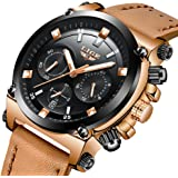 LIGE Mens Watches Fashion Sports Waterproof Analog Quartz Watch Mens Black Leather Chronograph Date Wristwatch