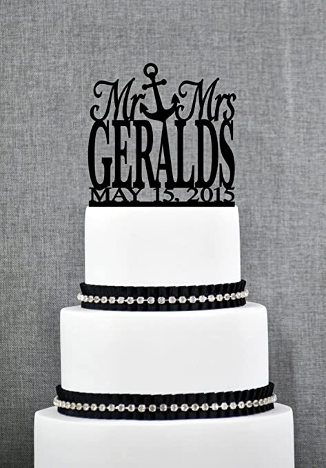 Outstanding Mr And Mrs Last Name Cake Topper With Anchor And Date Mr And Mrs Funny Birthday Cards Online Alyptdamsfinfo