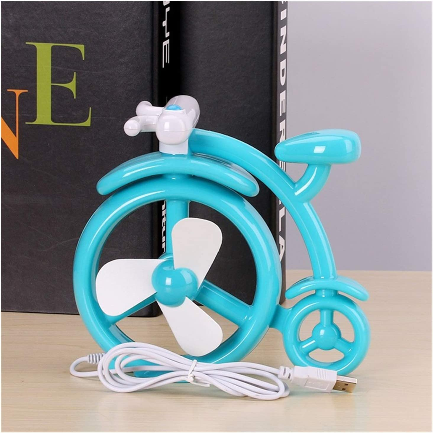 Color : Blue Air Cooler Bicycle Design Mini Fan USB Handheld Portable 3 Leaf Electric Fan Outdoor Cooling Personal Fans