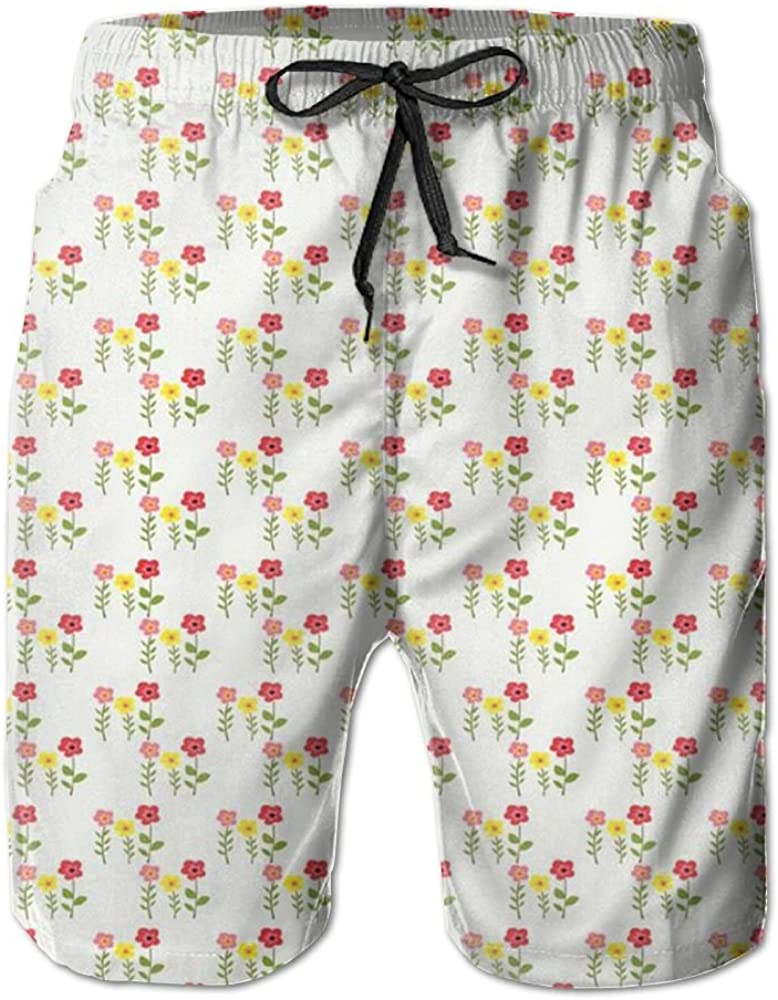 TO-JP Womens 3D Printing Beach Shorts Pink Flowers Swim Trunks