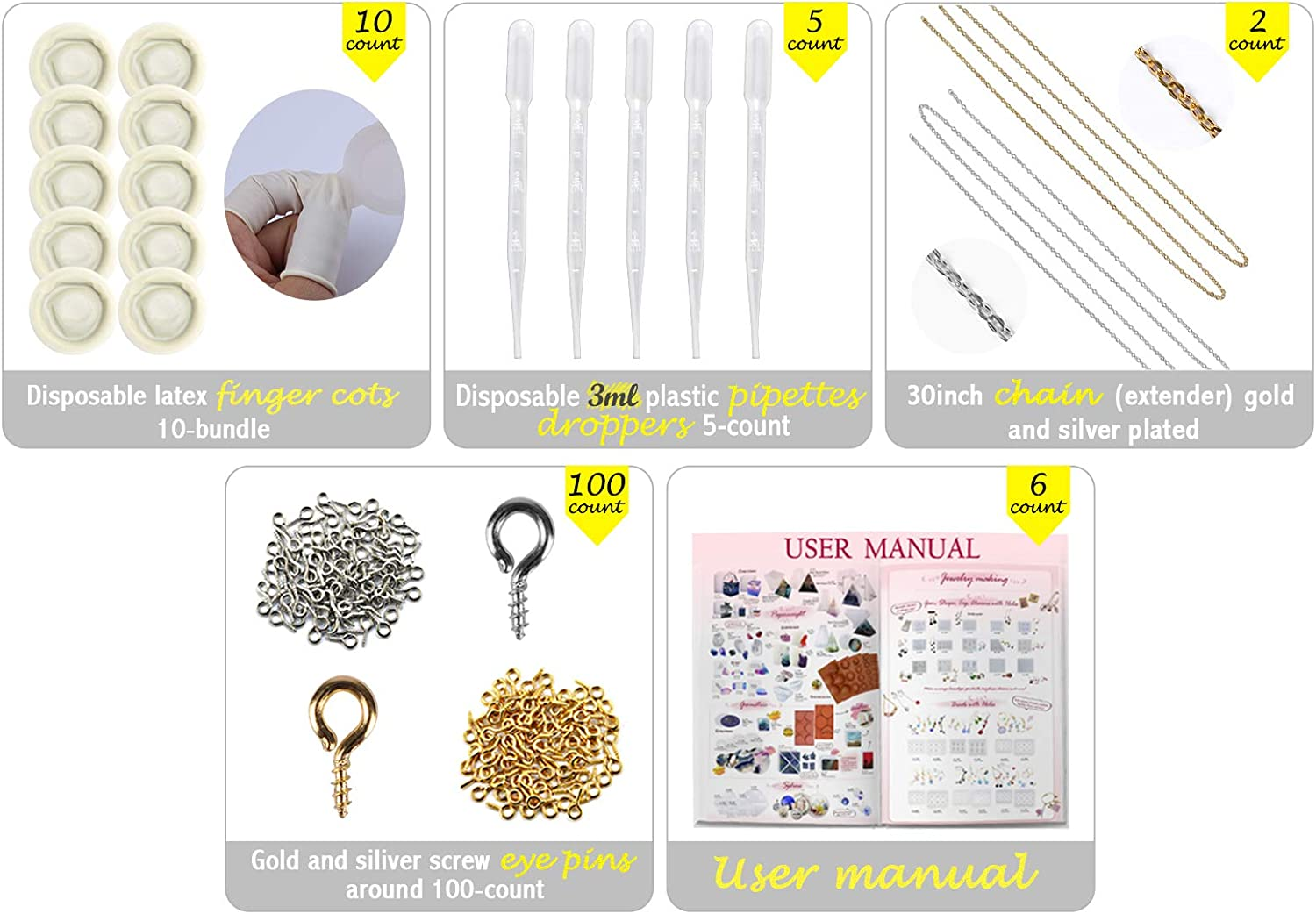 Funshowcase Resin Silicone Mold Set Bracelet Crystal Orb for Jewelry Making Pendant Necklace Keychain Lot 159-Count