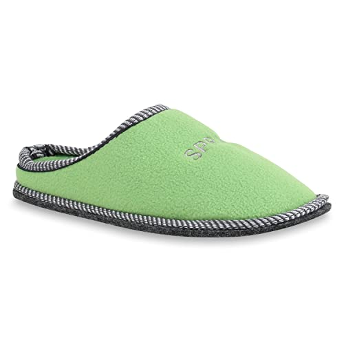 Stiefelparadies Damen Hausschuhe Pantoffeln Stickereien Slippers Strick Schuhe 158228 Hellgrün 38 Flandell HrtC7oE6b