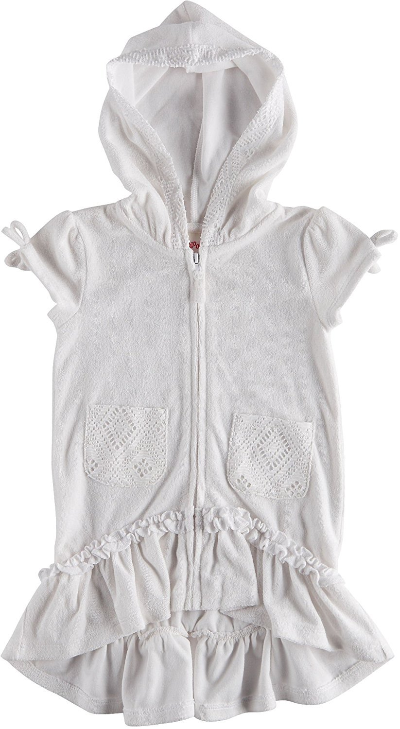 Flapdoodles Girls' Terry Hooded Swimsuit Beach Cover up (12M, White)