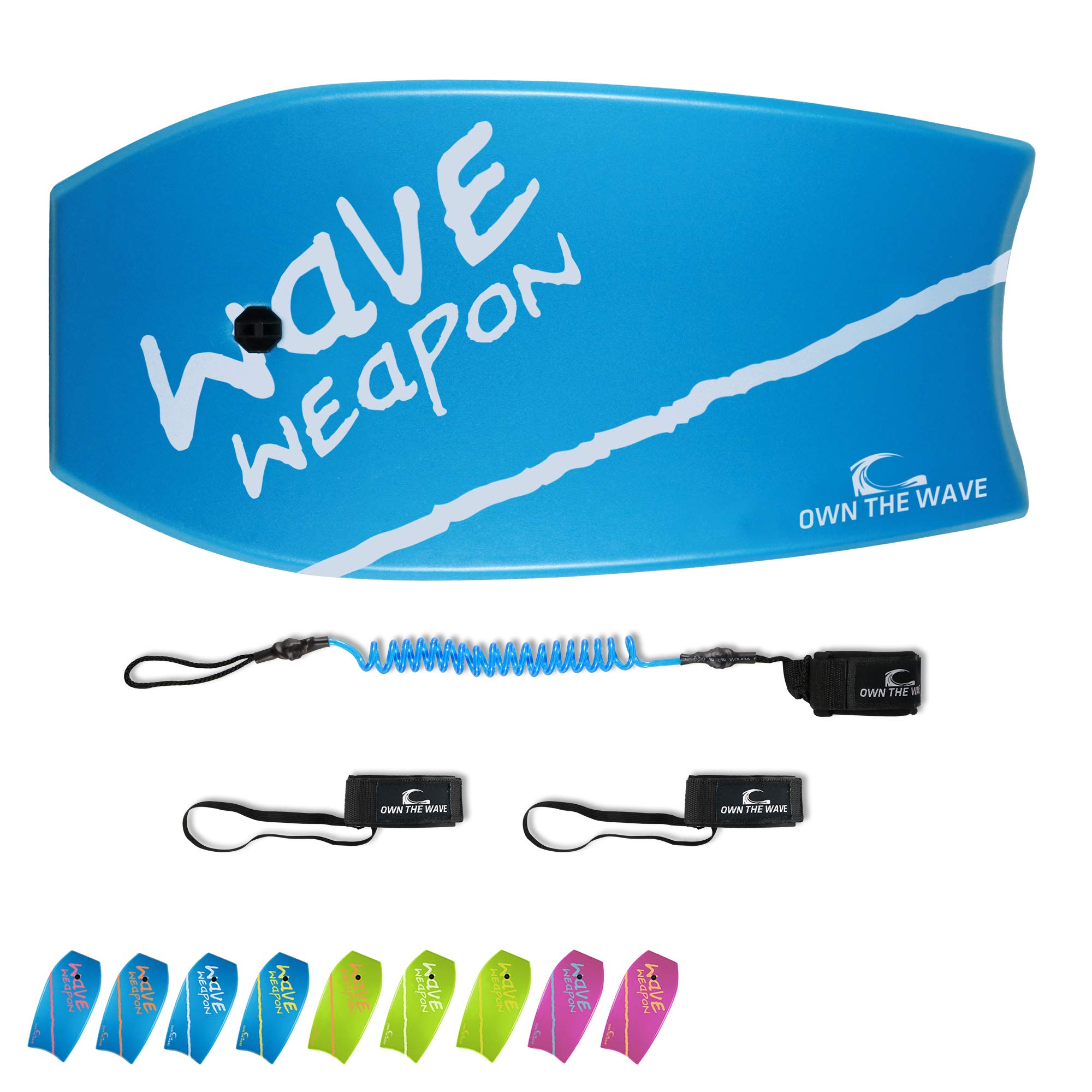 Own the Wave 33 Inch Body Board for Adults and Kids - HDPE Slick Bottom & EPS Core - Light Weight Bodyboard Perfect for Surfing - Comes with Coiled Leash and Swim Fin Tethers (Blue & White)