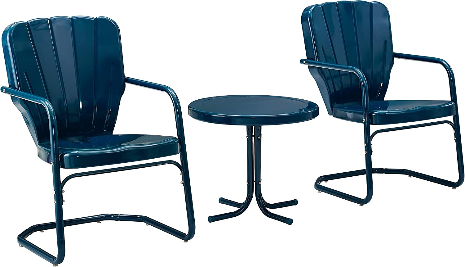 Crosley Furniture KO10012NV Ridgeland Retro Metal 3-Piece Seating Set with 2 Chairs and Side Table, Navy