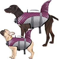 Kuoser Dog Life Jacket Vest, Adjustable Dogs Swimming Vest with Shark Fin, Safety High Visibility Pet Floatation Vest…