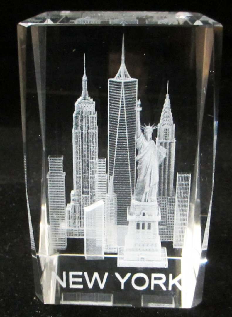 New York Souvenir NYC Skyline 3D Clear Crystal Laser Etched Glass Paperweight with Statue of Liberty Empire State Building Freedom Tower Large Size