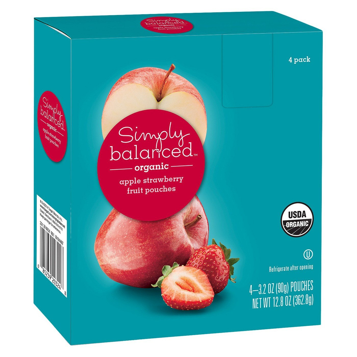 Organic Apple Strawberry Fruit Pouches 4ct - 3.2oz - Simply Balanced
