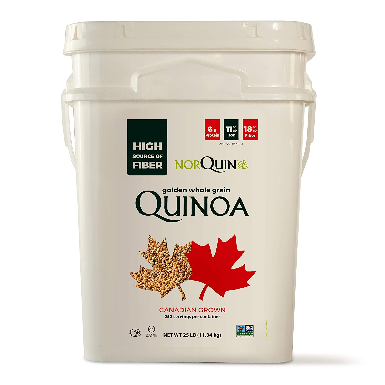 NorQuin Golden Quinoa Pail 252 Servings / 25 lbs - Big Bulk Bucket Great For Food Storage, Restaurants & Wholesale - Perfect Rice & Grain Alternative - Kosher Certified, Gluten Free, Non-GMO