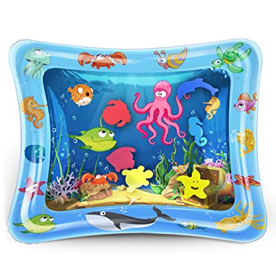 KidPal Tummy Time Water Play Mat Inflatable Infant Playmat Toys for Toddlers Babies Great Fun Water Mat for Baby Stimulation Growth: Toys & Games