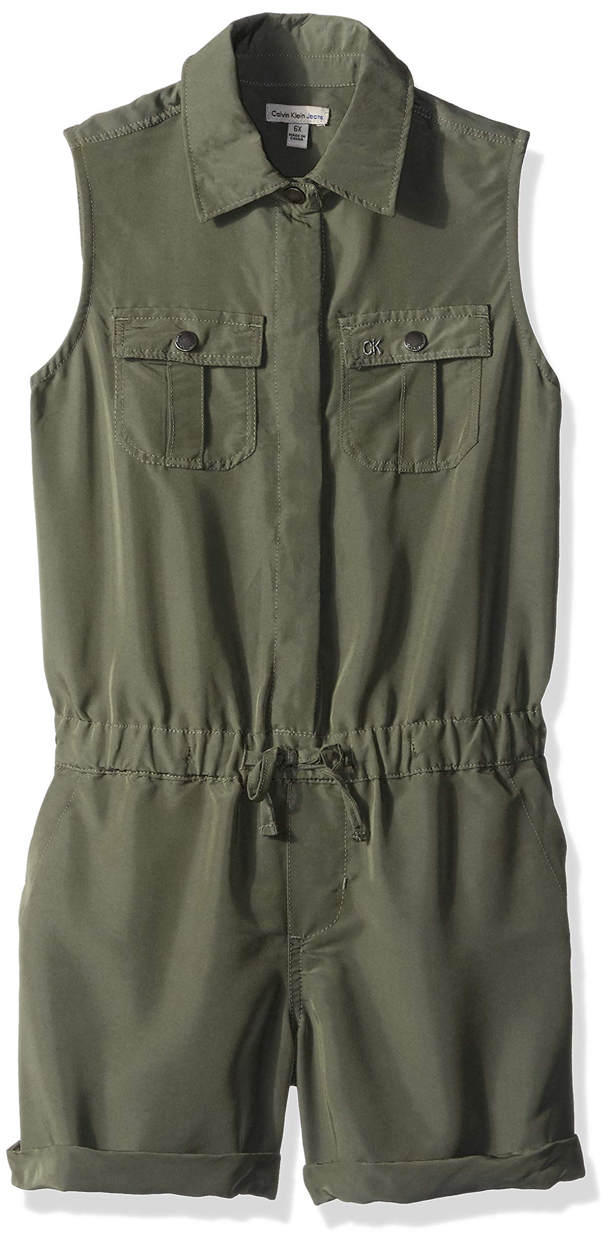 Calvin Klein Big Girls' Short Jumpsuit, Sporty Olive, L12/14