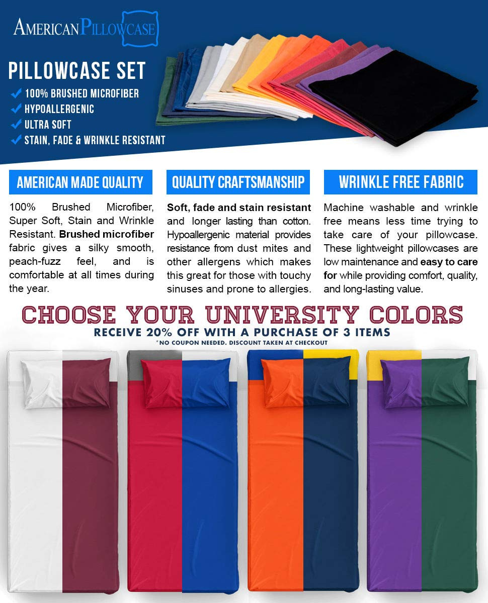 American Pillowcase College Dorm Twin XL Bed Flat Mattress Sheet 100% Microfiber Ultra Soft Hypoallergenic Wrinkle-Free, Stain, and Fade Resistant - Red 200 by American Pillowcase (Image #2)