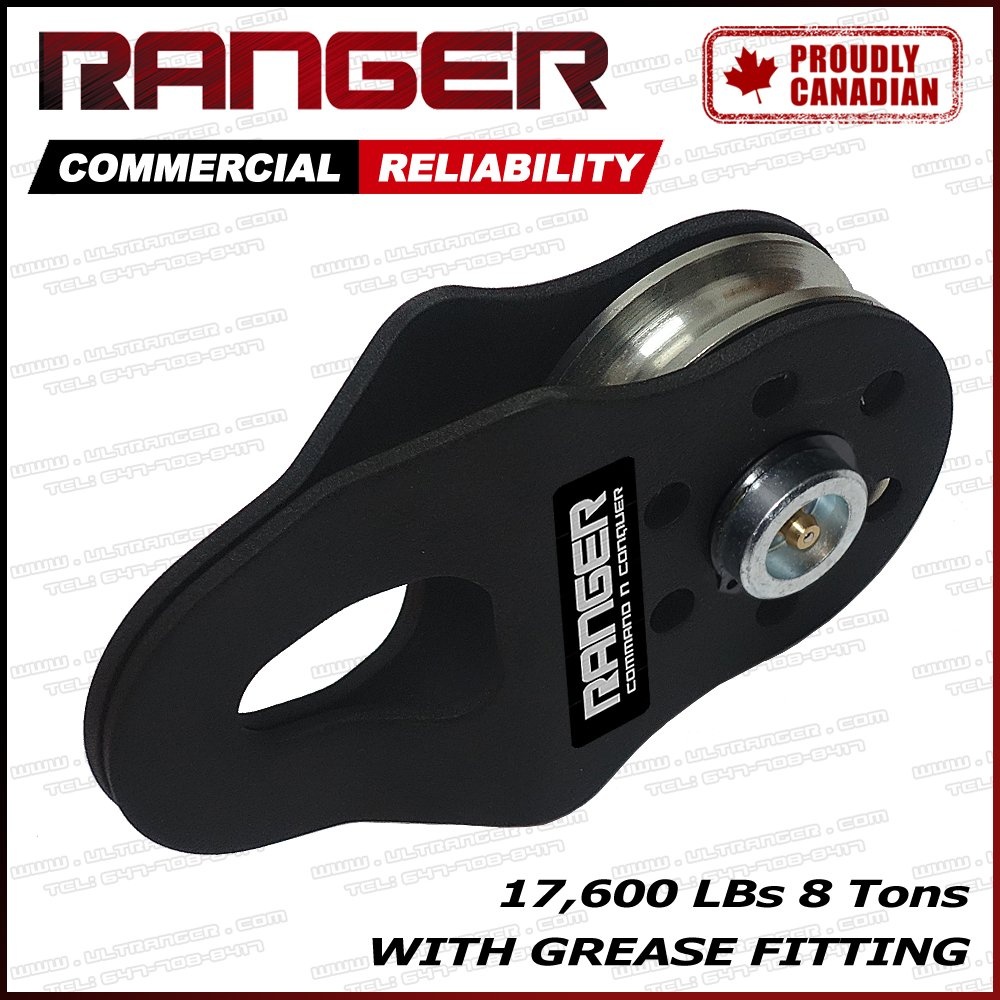 Ranger Commercial Reliability Snatch Block with Grease Fitting by Ultranger (8 Tons 17, 600 LBs)