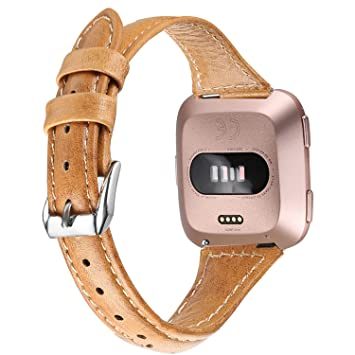 5e57c4939 bayite Bands Compatible with Fitbit Versa, Slim Genuine Leather Band  Replacement Accessories Strap Versa Women Men (5.3