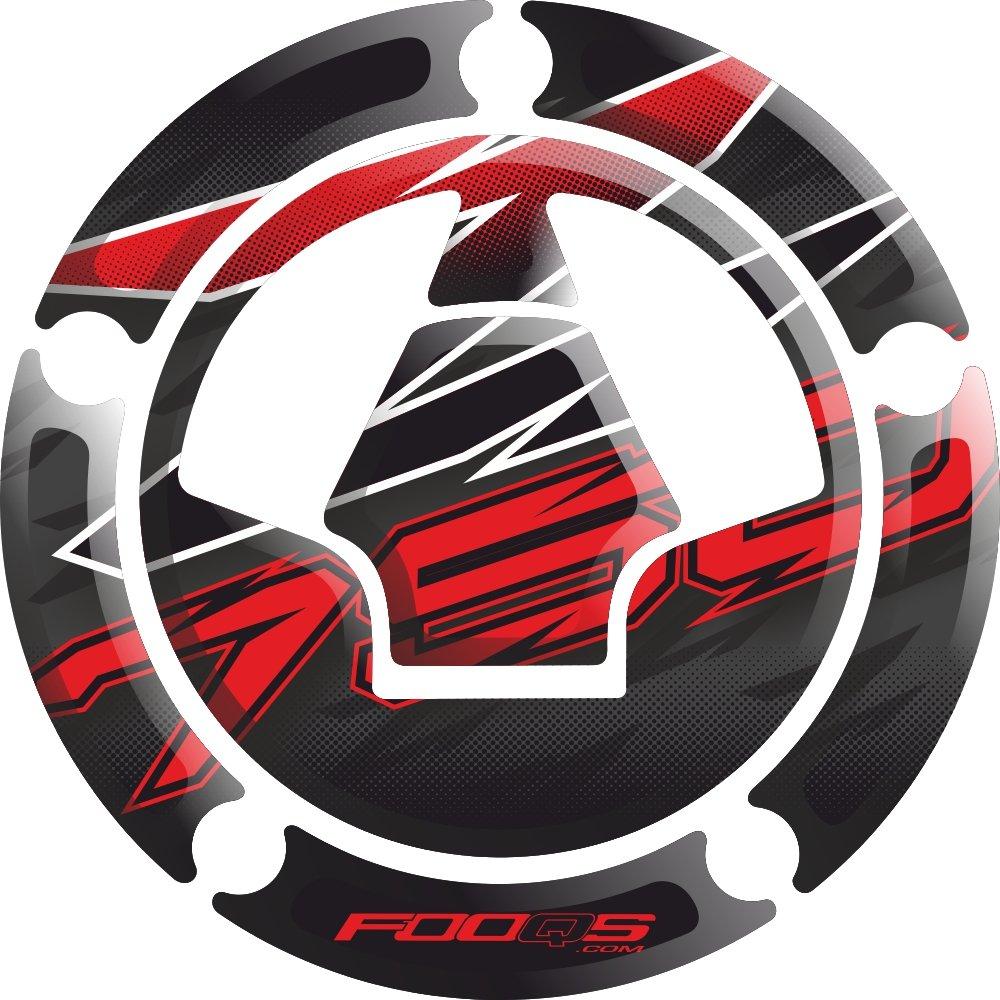 Moto Réservoir De Carburant 3 d 3d Gel Decal Gas Cap Pad Tankpad Tank pad Cappé Cap-pad Cappad Couverture Autocollant Réservoir Pad Réservoir-pad pour Kawasaki Z750 Z 750 (Noir/rouge) Fooqs