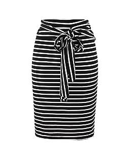 Chouette Femme Jupe Mi-Longue Taille Moulante Haute Dress Rayé Bodycon Bandage Robe Occasionnel Bal Party Soirée Printemps Eté (FR44-46, Noir)