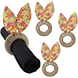4 Pack Petite Floral Easter Bunny Ears Napkin Rings Set By Tag Table Setting Decoration