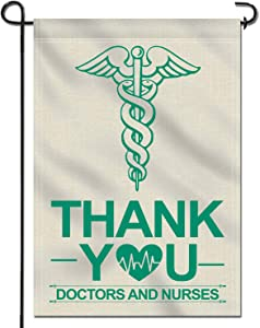 Anley Double Sided Premium Garden Flag, Thank You Doctors and Nurses Decorative Garden Flags - Weather Resistant & Double Stitched - 18 x 12.5 Inch