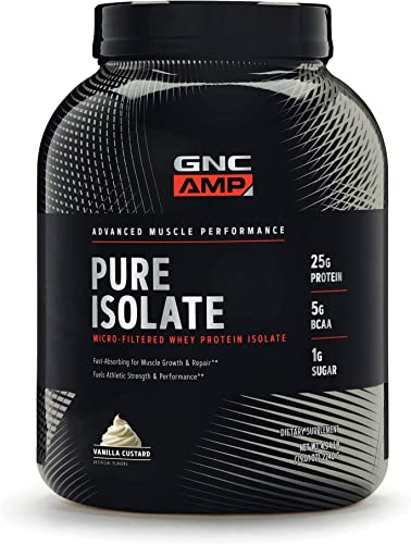 GNC AMP Pure Isolate – Vanilla Custard, 70 Servings Each, 25 Grams of Whey Protein Isolate