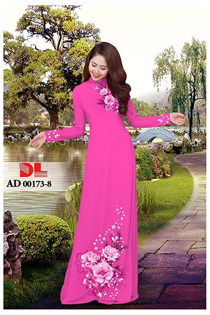All Size ADVN00205 Silk 3D Traditional Vietnamese Long Dress Collections with Pants Ao Dai