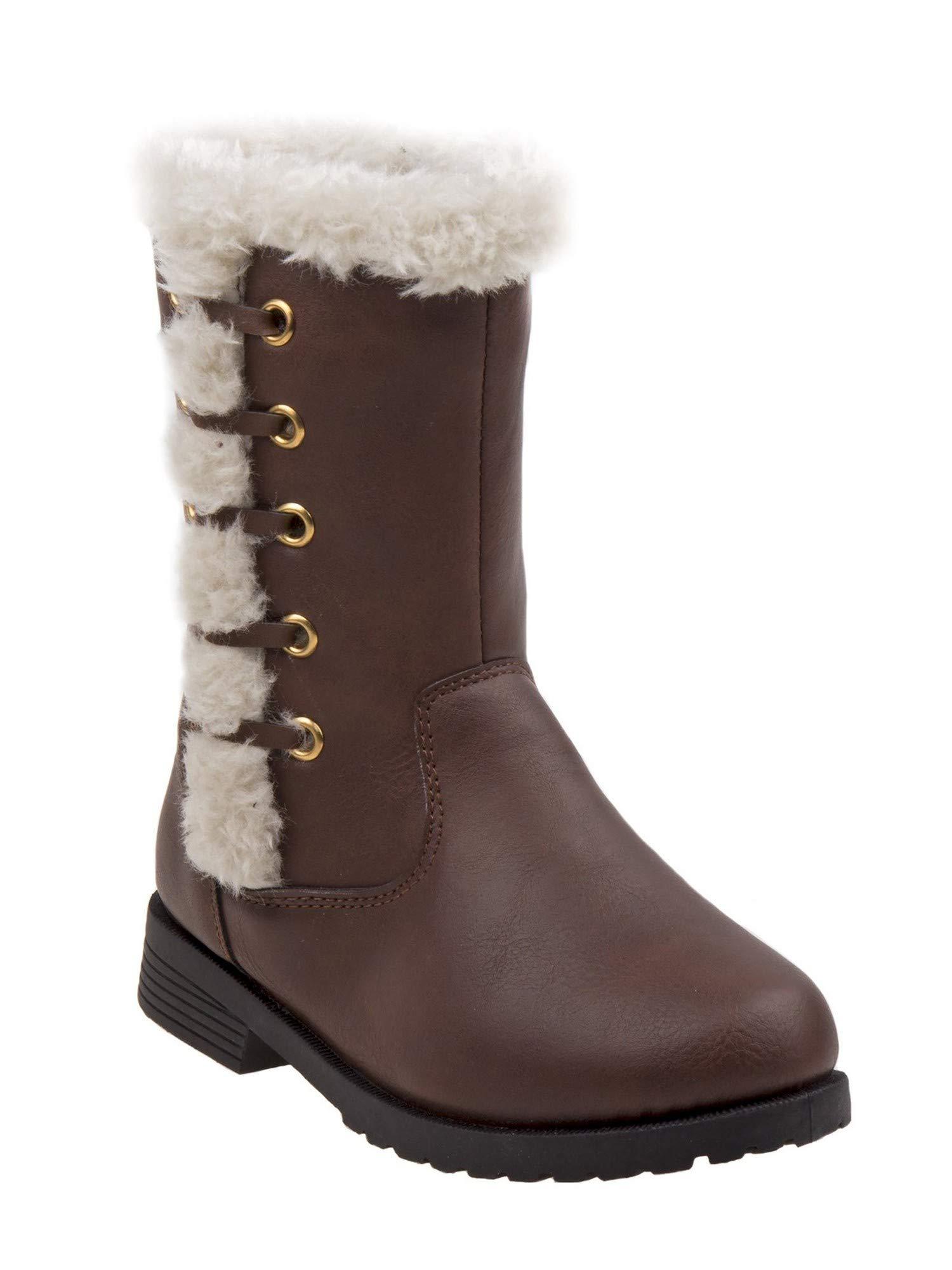 Rugged Bear Little Girls Brown Faux Fur Trim Side Zip Boots 9 Toddler