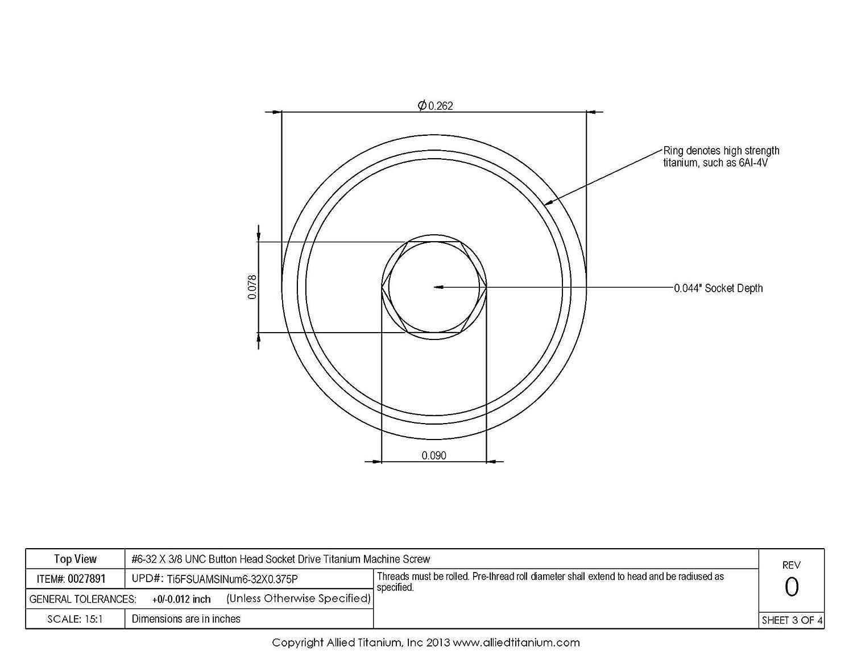 Ti-6Al-4V 1033965001 Inc #6-32 X 3//8 UNC Button Head Socket Drive Machine Screw Pack of 10 Grade 5 Allied Titanium 0027891,