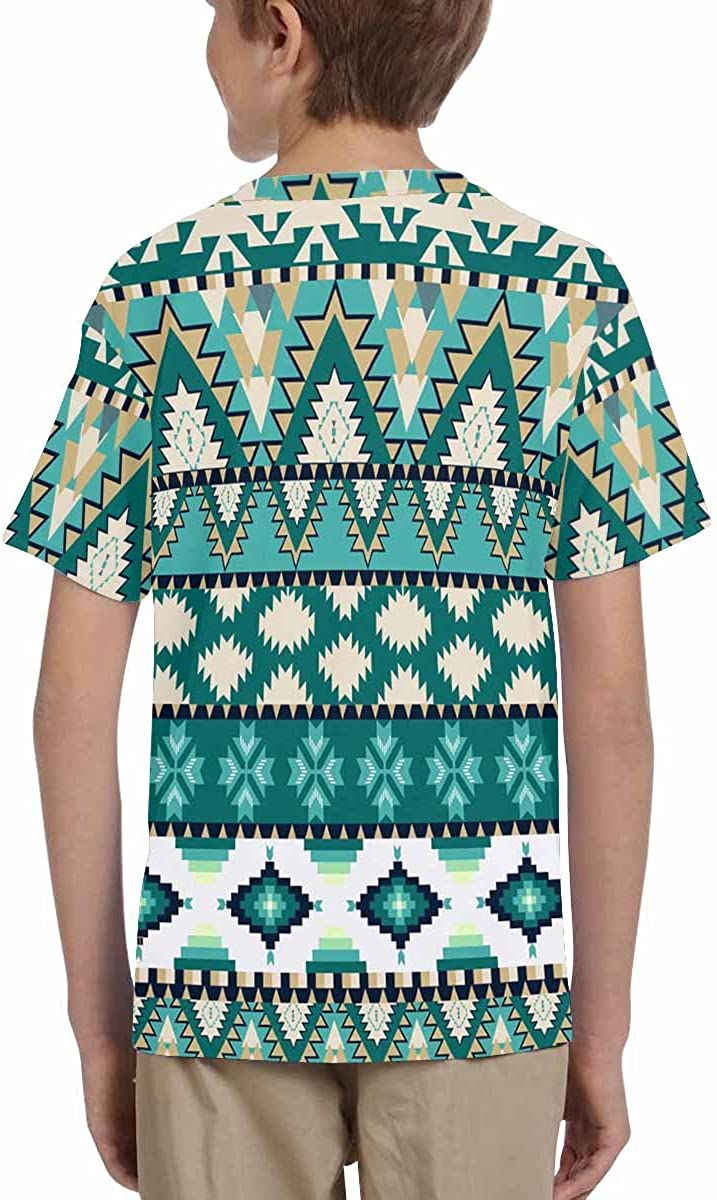 XS-XL INTERESTPRINT Youth Crew Neck T-Shirt Aztecs Pattern on Cold Color