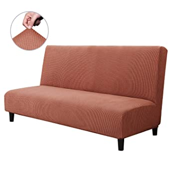 CHUN YI Armless Sofa Slipcover Elastic Fitted Full Folding Sofa Bed Cover Without Armrests,Removable Machine Washable Non-Slip Furniture Protector for ...