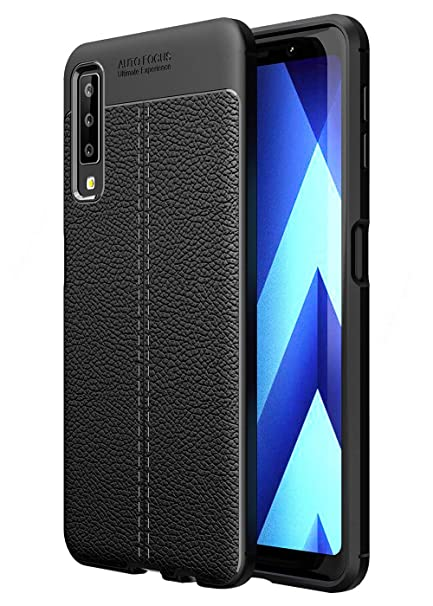 on sale fbb3e cd0e4 Golden Sand Compatible with Samsung A7 2018 Back Cover Case Drop Tested  Shock Proof Armor Leather Texture TPU Black (Samsung Galaxy A7 2018 Cover)