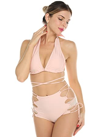 f46f3a6bf51 CFR Women's Bikini Set Sexy Two Pieces Tie Up Strappy Swimsuit Beach  Bathing Suit Beige,