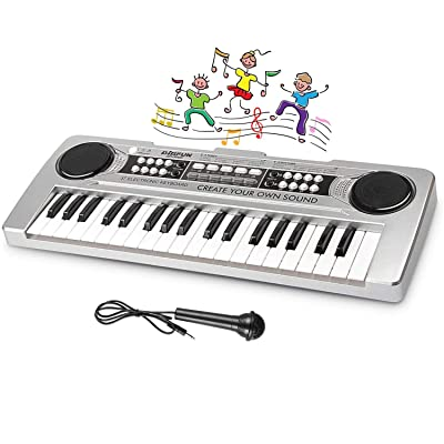 LYBALL Kids Piano 37 Keys Multi-Function Keyboard Organ Kids Toy Piano with Microphone & MP3 Music Function Kids Starter Music Keyboard Silver 16.92 inches: Toys & Games