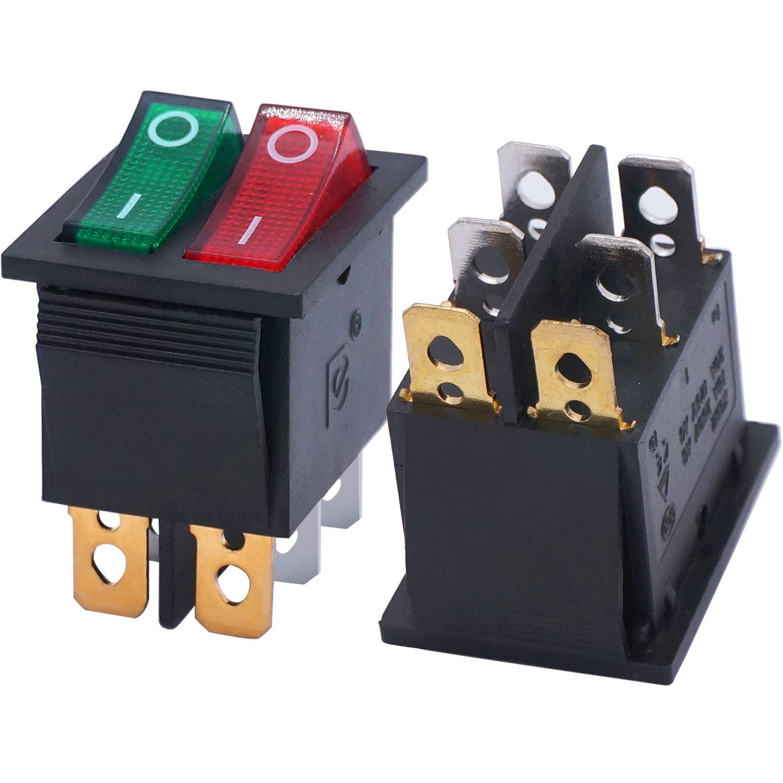 Double Position Rocker Switch Red Toggle Switch AC 250V//15A 125V//20A 2pcs