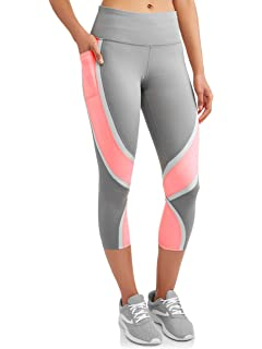 e99141495ae9a6 Avia Womens Active Performance Perforated Capri Leggings (Grey/Pink, Medium  M, 8