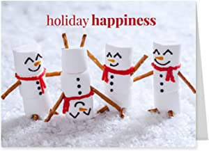 Marshmallow Snowmen Holiday Card Pack / 25 Seasonal Greeting Cards Including Envelopes/Whimsical Winter Happiness Food Design And Joyful Wishes Note