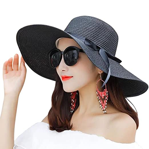 118c2dd7a22 Lanzom Women Summer Big Brim Beach Hat Floppy Foldable Bowknot Straw Sun Hat  (Black)