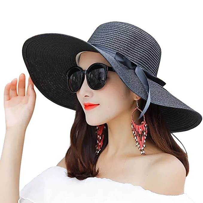 db7a786e Lanzom Women Summer Big Brim Beach Hat Floppy Foldable Bowknot Straw Sun Hat  (Black)