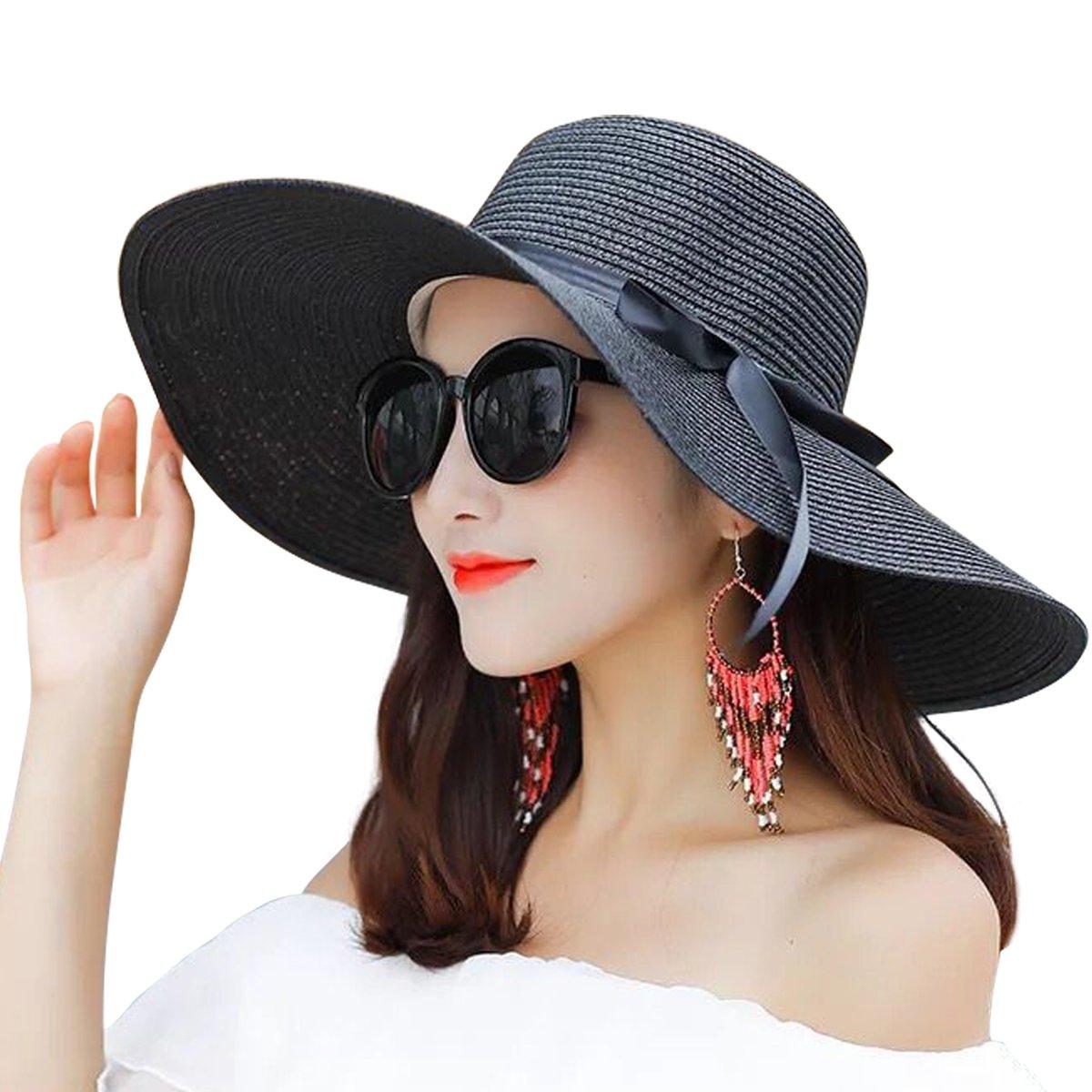 Lanzom Women Summer Big Brim Beach Hat Floppy Foldable Bowknot Straw Sun Hat (Black)