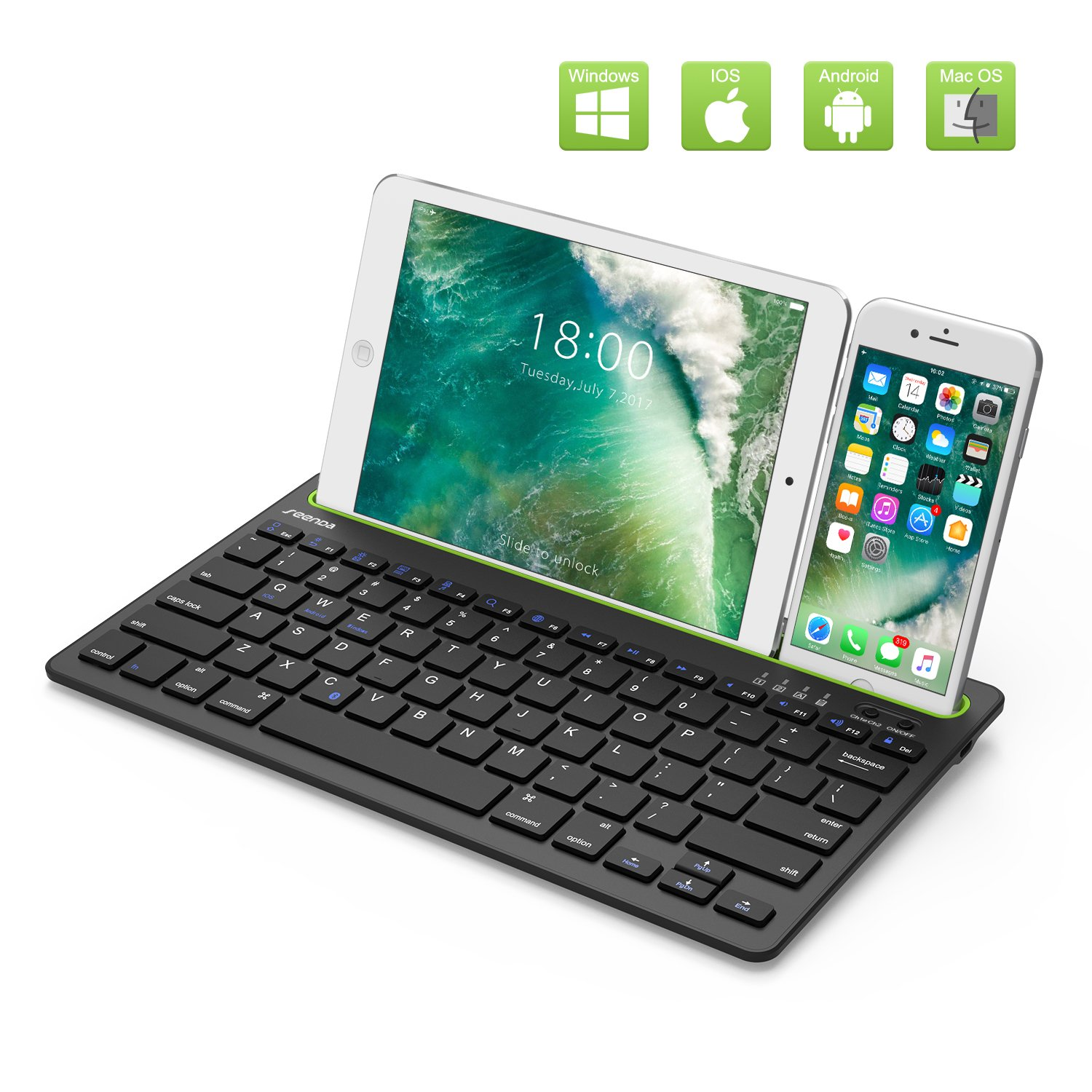 Bluetooth Keyboard for iPad,Seenda Ultra Compact Rechargeable Multi Device Bluetooth Keyboard for Smartphones Tablet PC,Compatible with Windows Android iOS Mac System