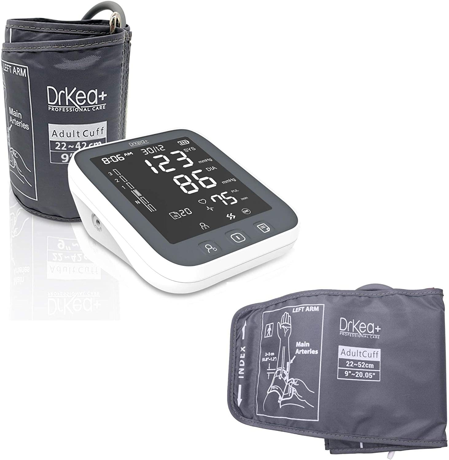 "DrKea K990i Blood Pressure Monitor Upper Arm and Extra Large Cuff Strap for Upper Arm Bundle - Fits 9"" to 20.5"" Upper Arm Size"