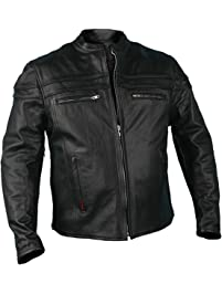 Hot Leathers JKM1011,BLK,L Leather Men's Jacket with Double Piping (Black, Large)