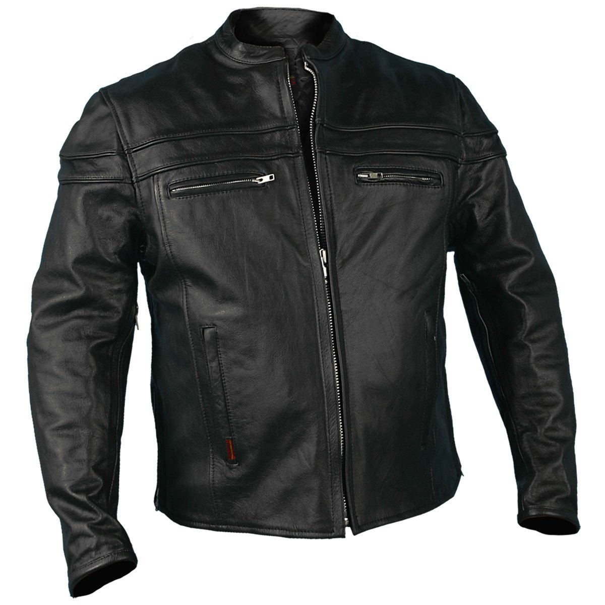 Hot Leathers Leather Men's Jacket with Double Piping (JKM1011, Black, XXX-Large) BLK 3XL