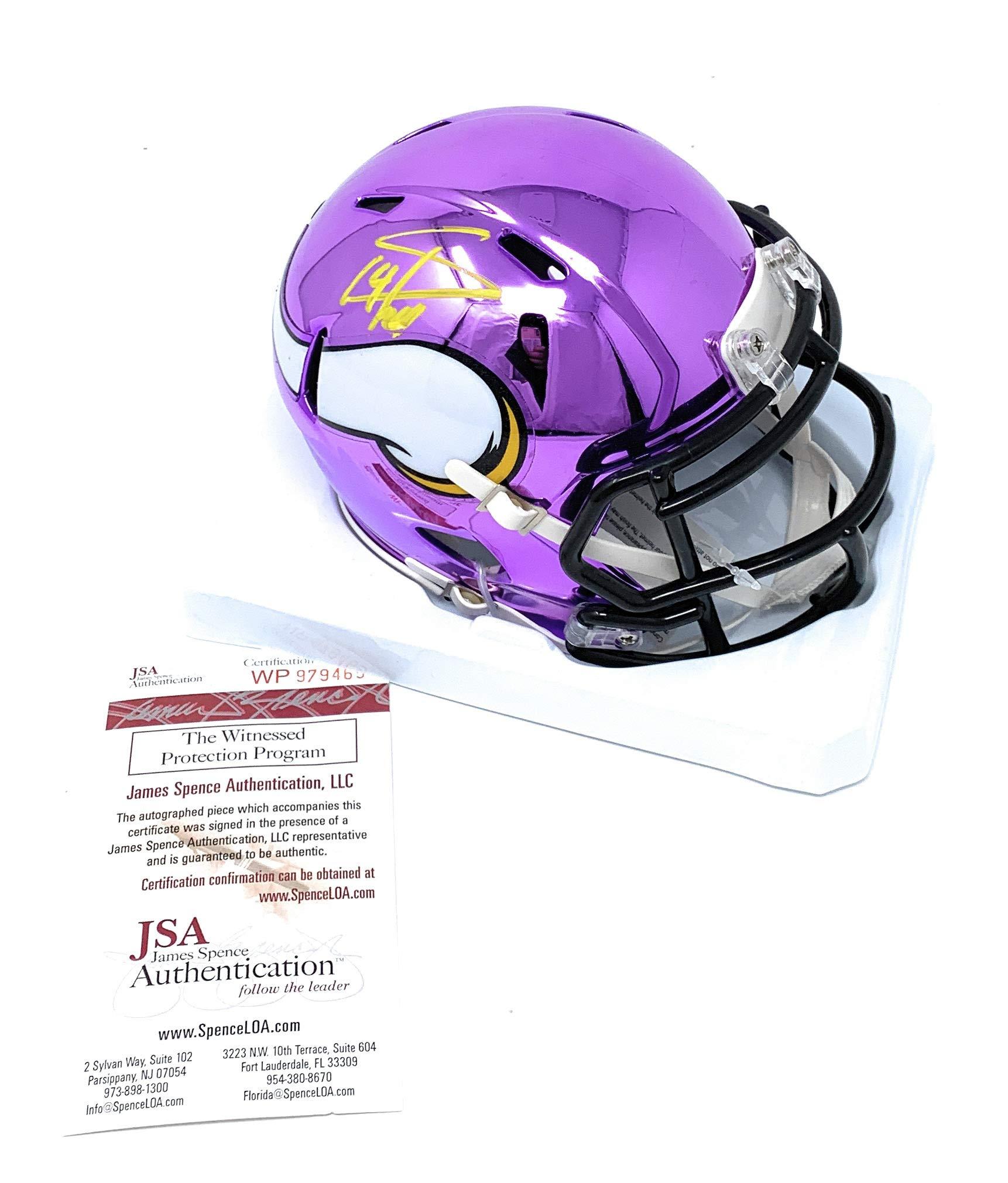 Stefon Diggs Minnesota Vikings Signed Autograph CHROME Speed Mini Helmet JSA Witnessed Certified