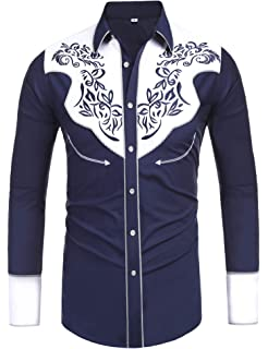 Daupanzees Mens Long Sleeve Embroidered Shirts Slim Fit Casual Button Down Shirt