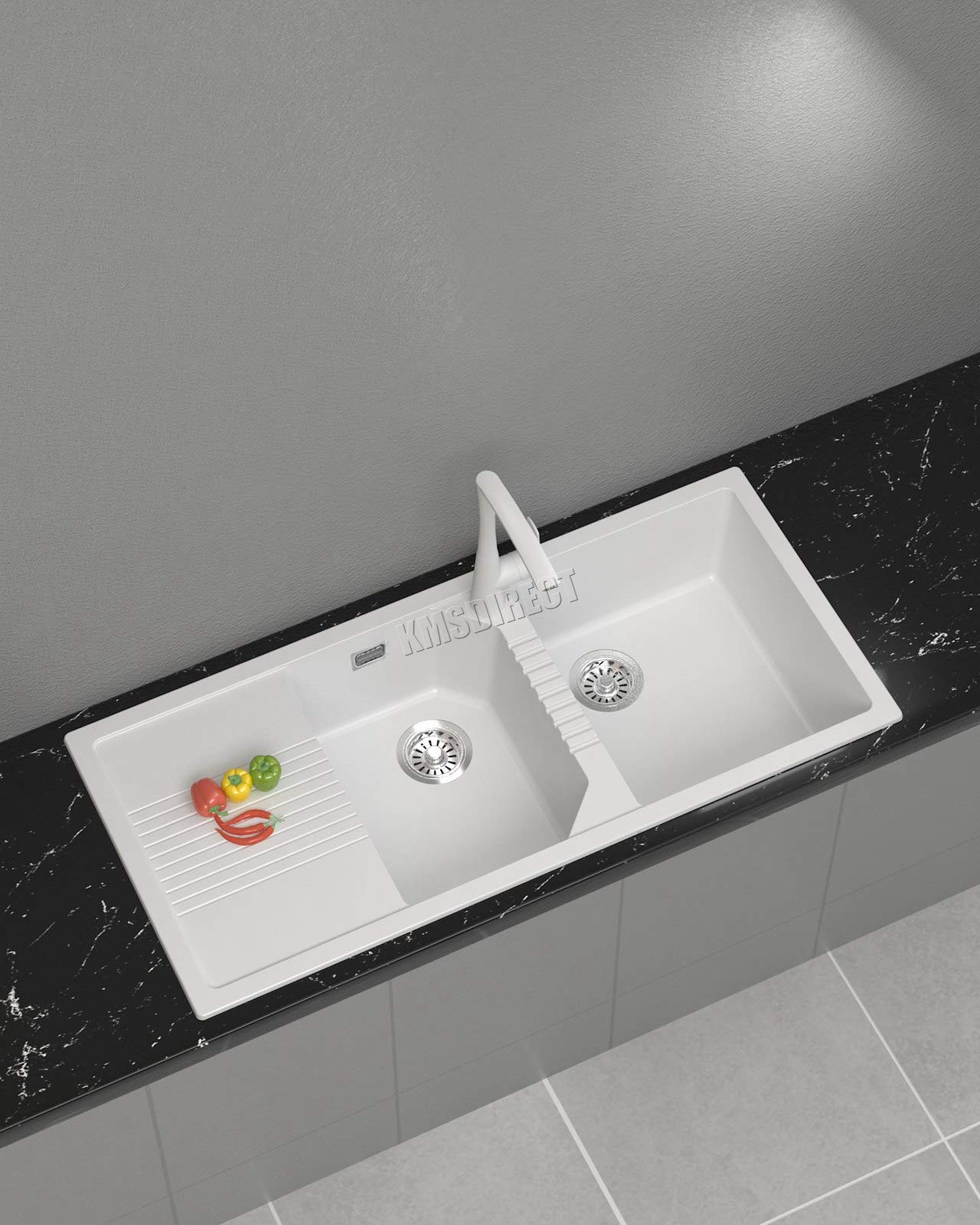 WestWood Granite Quartz Kitchen Sink Inset Double 1.5 Bowl with Complete Plumbing Kit Drainer Waste Home GKS01 White