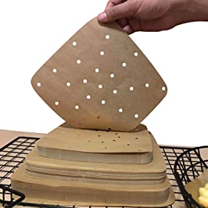 Square Air Fryer Parchment Paper Liners 200Pcs Perforated Parchment Filter Paper Accessories Unbleached for Air Fryer, Steaming Basket,Bamboo Steamer,No Burn, Easy Cleanup (7.5in, Light Brown)