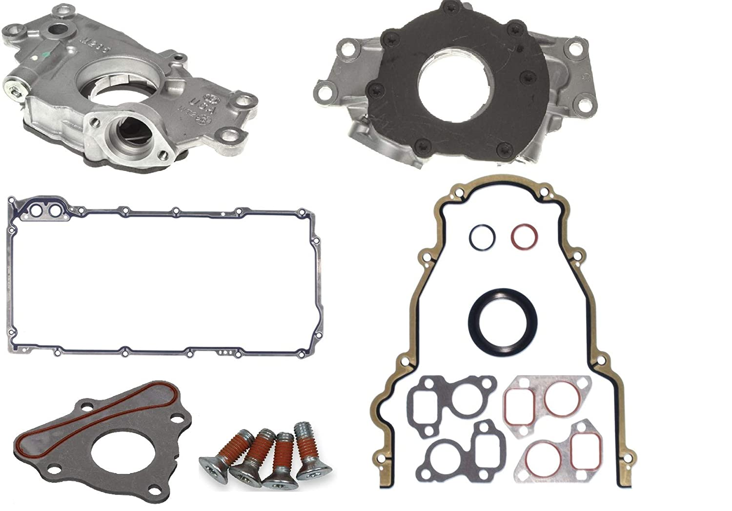Oil Pump /& Timing Cover /& Camshaft Locking Plate with Recessed Bolts compatible with 1999-2009 Chevrolet GMC 4.8L 5.3L 6.0L 325