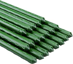 summer flower Garden Stakes 30 Inch 2.5FT Steel Tomato Stakes Support, Sturdy Plant Sticks with Plastic Coated and Metal Core for Tomato Plants Cucumber Fence, Pack of 20