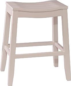 Hillsdale Furniture Fiddler Backless Saddle Bar Stool, White