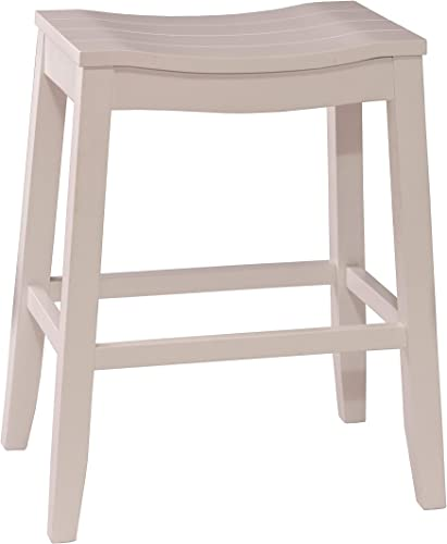 Hillsdale Furniture Fiddler Backless Saddle Bar Stool, White