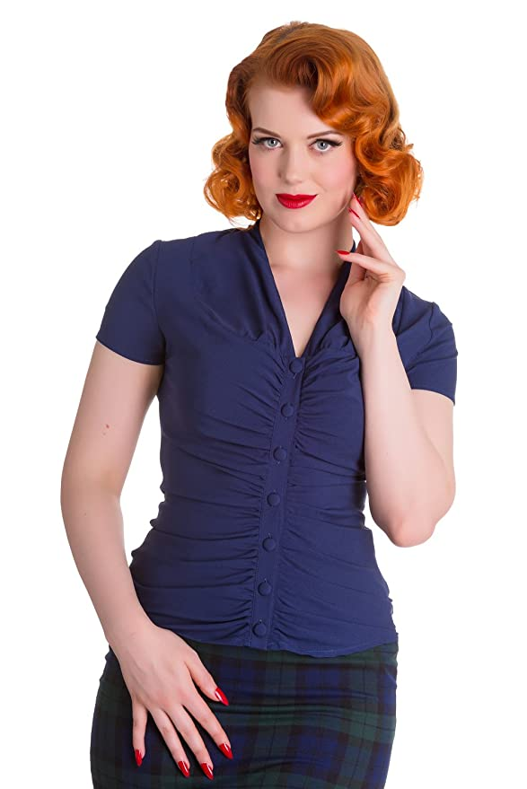 1930s Style Tops, Blouses & Sweaters Hell Bunny Rosina Rockabilly 40s 50s Blouse Top Shirt $26.99 AT vintagedancer.com